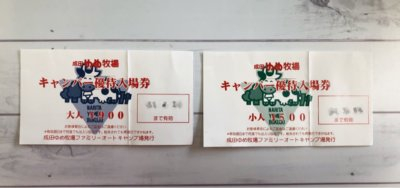 成田ゆめ牧場キャンプ利用者専用入場券