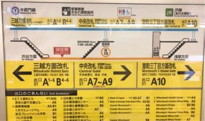 銀座線三越前駅の出口案内