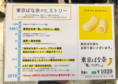 お土産用に購入した東京駅限定販売している東京ばな奈とディズニーがコラボしたお菓子のメニュー表